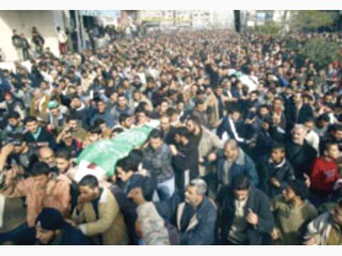 آلاف الفلسطينيين يشيعون جثمان الشهيد سعيد صيام في غزة