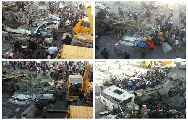 حادث مروع بجولة مذبح في صنعاء.. سقوط قاطرة.. بالصور