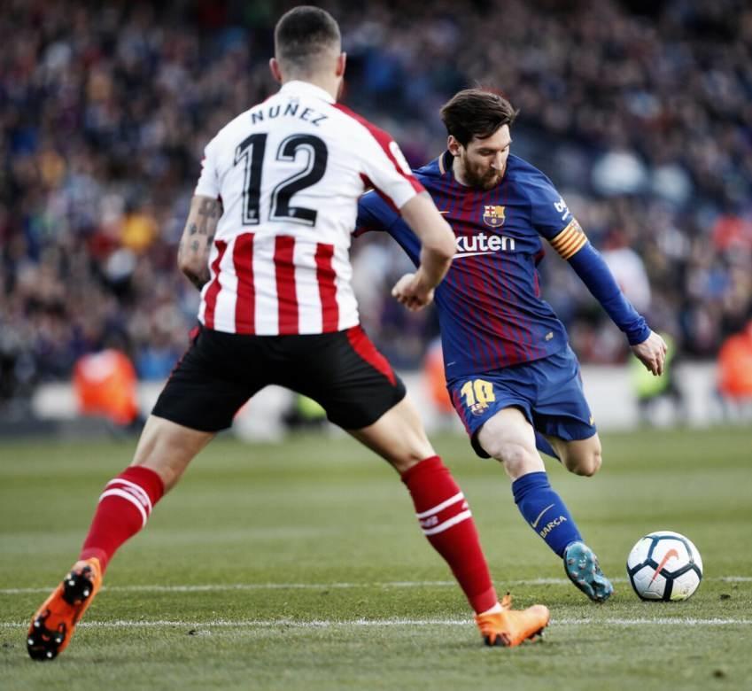 برشلونة يوسع فارق الصدارة بالفوز على اتليتيك.. شاهد احتفال ميسي