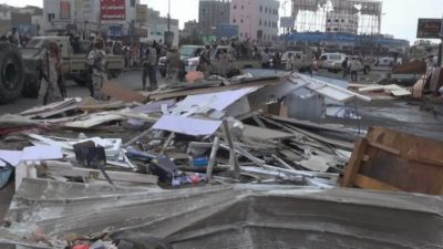 الحملة الأمنية لإزالة البناء العشوائي في عدن