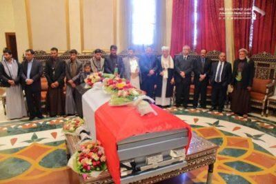 تشييع الصماد في صنعاء بحضور أقاربه ومسؤولين في ميدان السبعين
