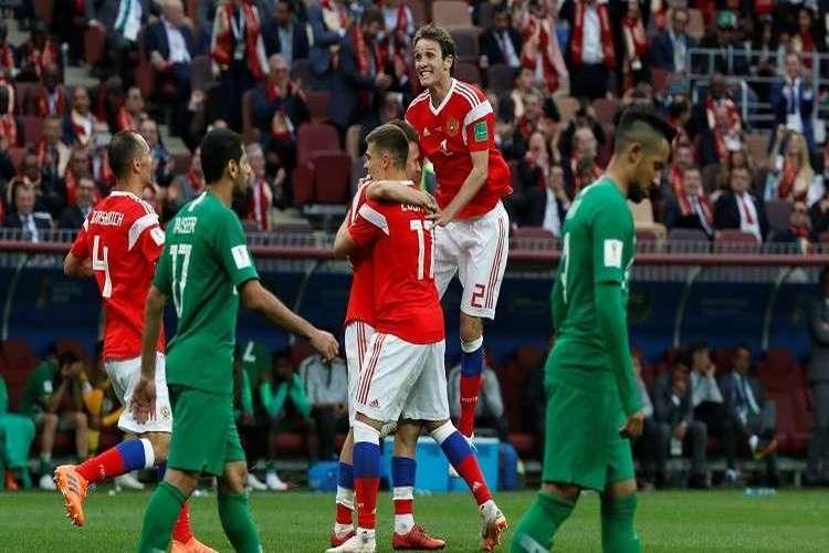 روسيا تمطر شباك السعودية بخمسة أهداف في افتتاح كأس العالم.. فيديو