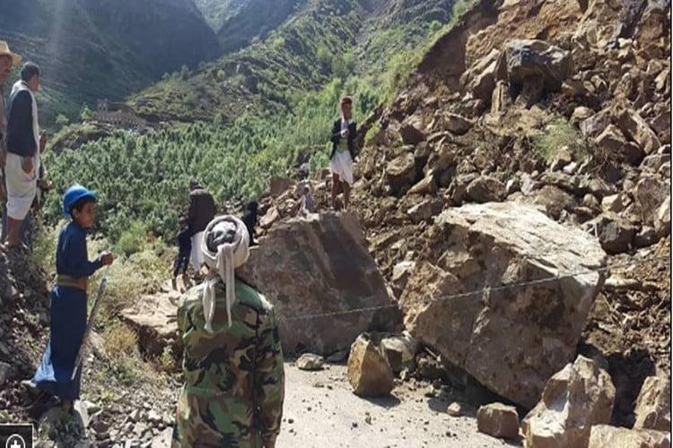 الدفاع المدني تحذر من انهيارت صخرية في بعض المناطق جراء الأمطار