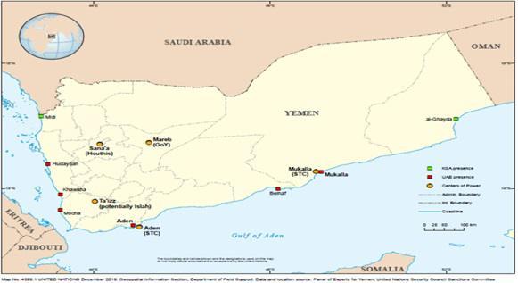 انتشار قوات التحالف في اليمن حسب فريق الخبراء
