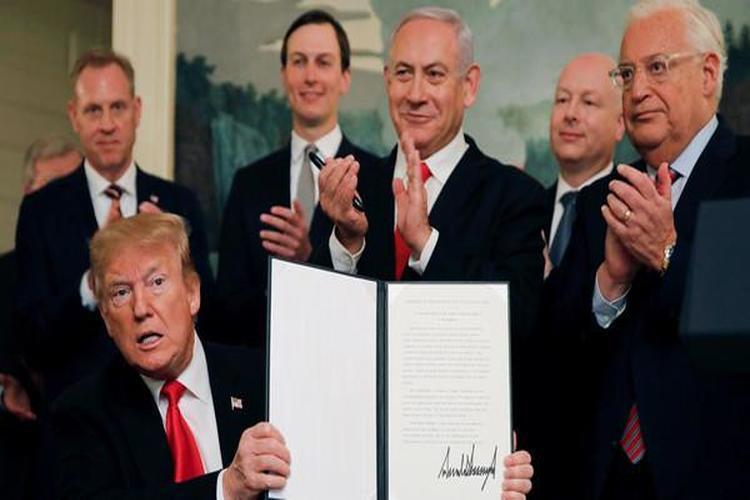 الرئيس الأميركي ترمب يعترف رسمياً بضم الجولان المحتل لإسرائيل