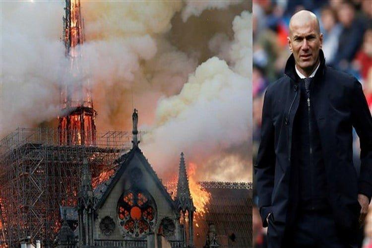 زين الدين زيدان يعرب عن حزنه إزاء حريق كاتدرائية نوتردام