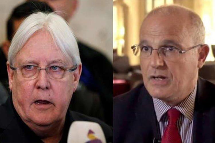 المبعوث الأممي الحالي مارتن غريفيث والسفير البريطاني لدى اليمن مايكل آرون