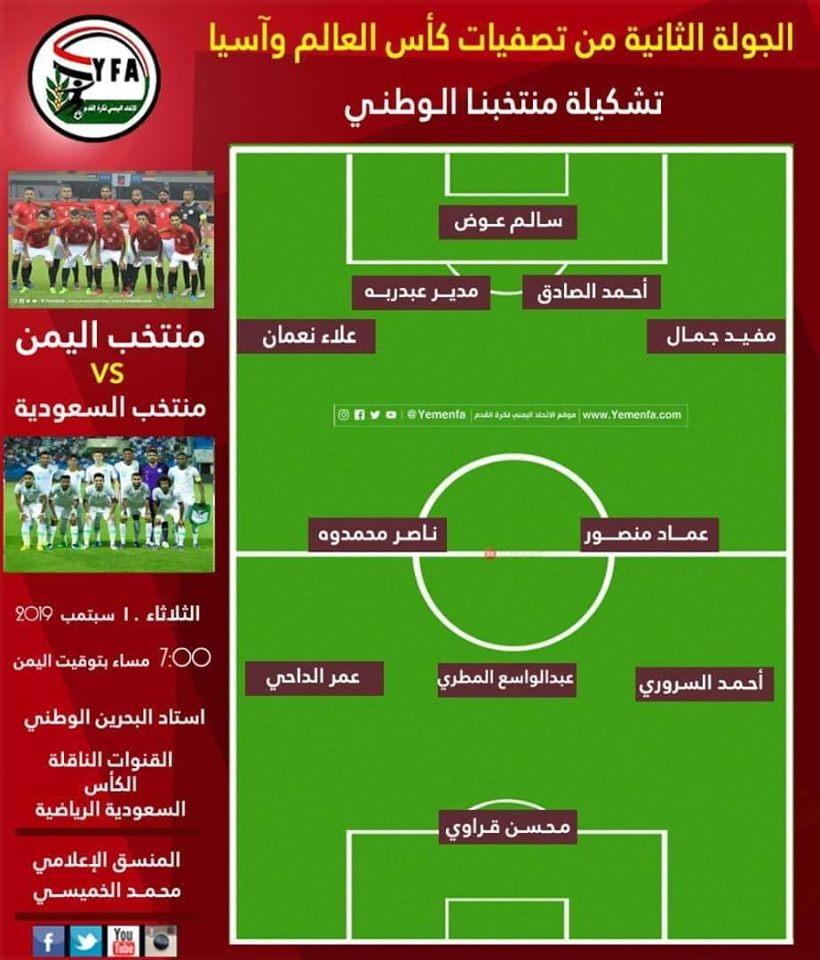 تعرف على تشكيلة منتخب اليمن بمواجهة السعودية