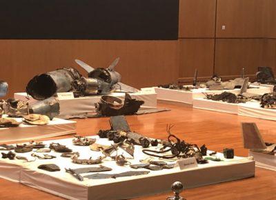 صور عرضتها الدفاع السعودية عن بقايا طائرات مسيرة وصواريخ كروز استخدمت في الهجوم على أرامكو
