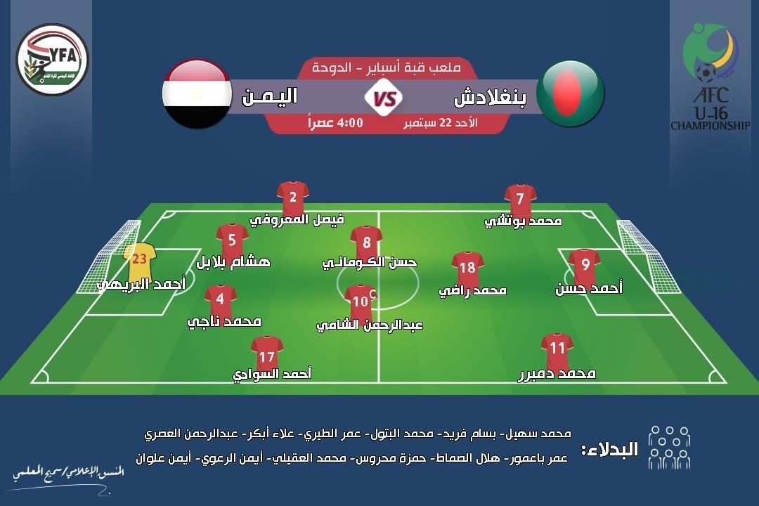 شاهد مباشر.. مباراة مصيرية منتخب اليمن للناشئين أمام بنغلاديش