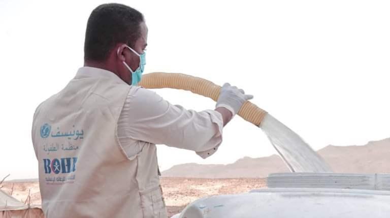 تدشين استجابة المياه والاصحاح البيئي للنازحين في العبر حضرموت