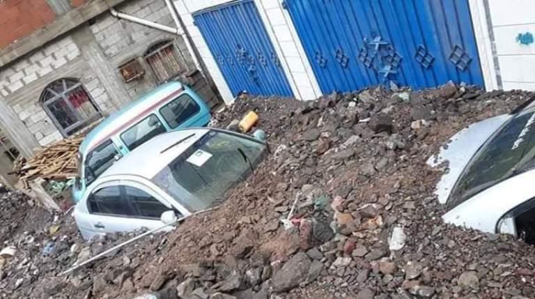 أضرار السيول في مدينة عدن