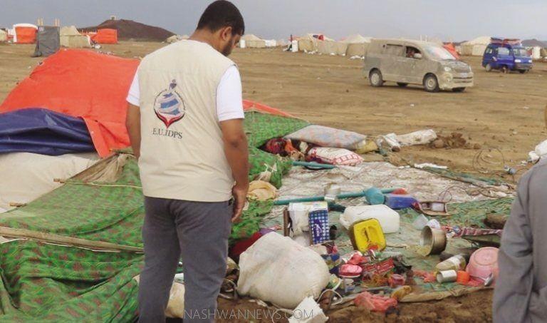 أضرار مخيمات النازحين في مأرب جراء الأمطار والسيول