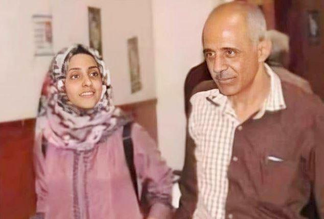 أبرار الإرياني مع والدها عبدالكريم