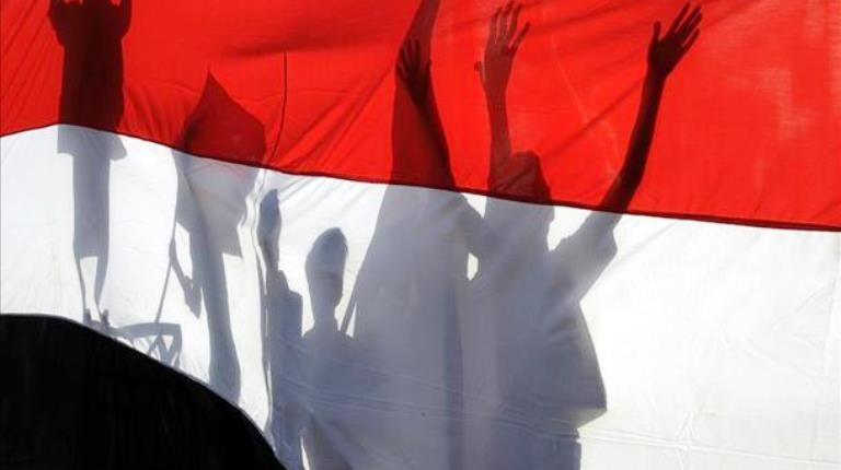 علم راية اليمن - الجمهورية اليمنية في تظاهرة