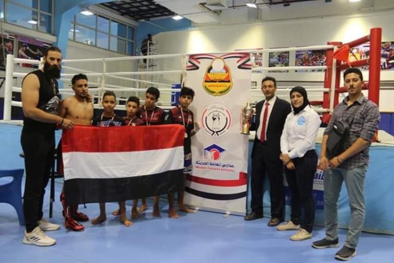 4 ميداليات لمنتخب اليمن المدرسي في بطولة الكيك بوكسينج بالقاهرة