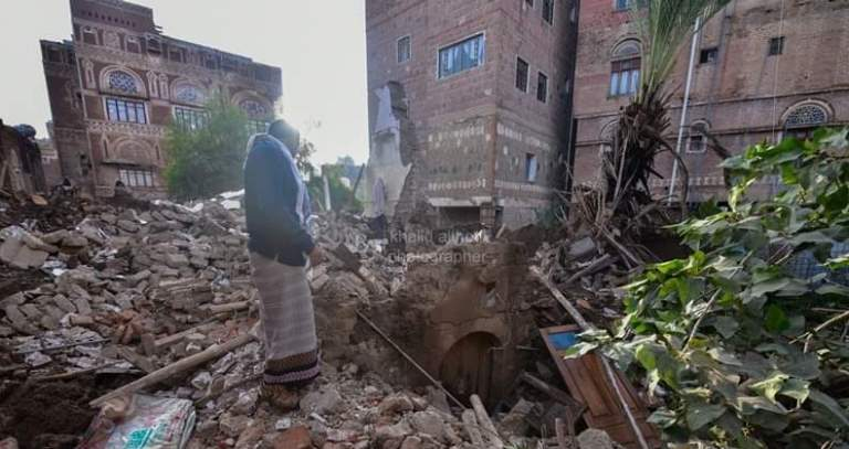 انهيار منزل البردوني في صنعاء القديمة جراء الأمطار