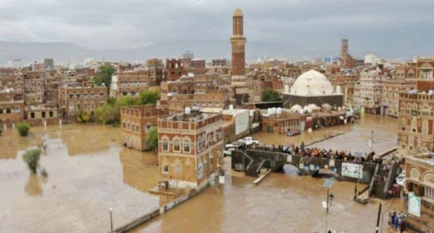 فيديو- مشاهد الأمطار والسيول ولحظات انهيار منازل في صنعاء القديمة