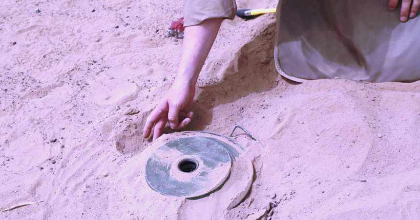 الألغام في اليمن - لغم زرعه الحوثيون