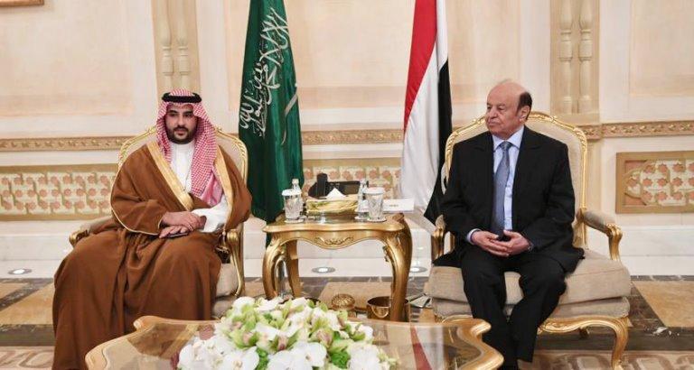 الرئيس هادي مع نائب وزير الدفاع السعودي خالد بن سلمان