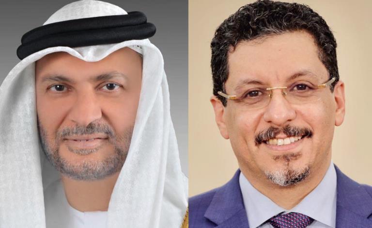 وزير الخارجية اليمني بن مبارك مع وزير الدولة الإماراتي أنور قرقاش