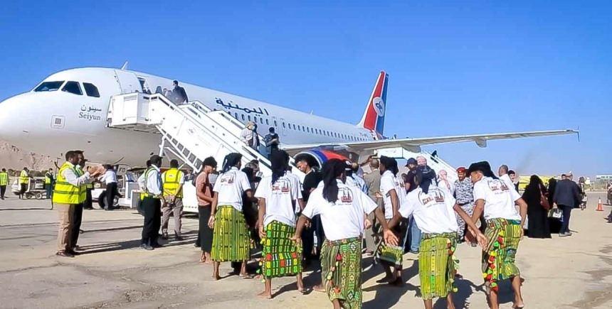 وصول طائرة اليمنية إيرباص إلى سيئون