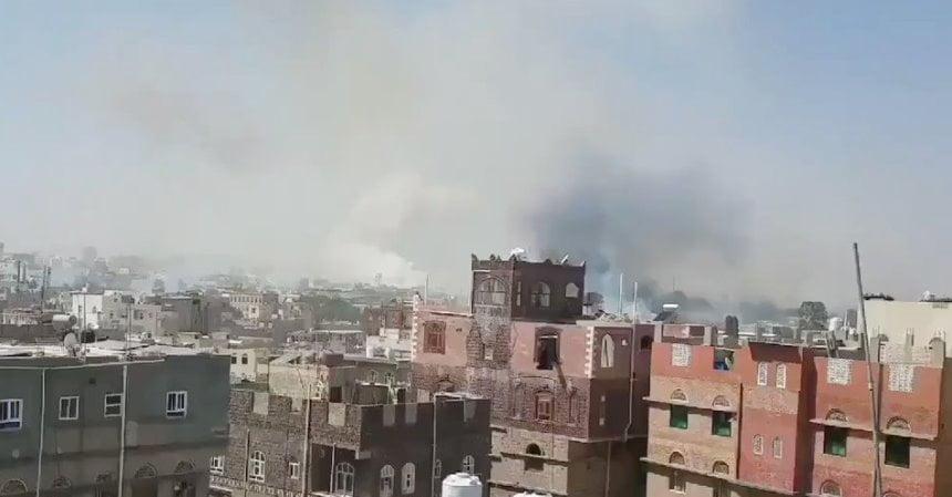 شاهد فيديو – غارات التحالف في صنعاء ضمن عملية نوعية